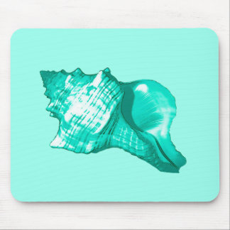Conch shell sketch - turquoise, white and aqua mouse pad