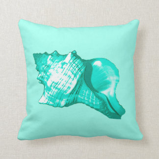 Conch shell sketch - turquoise, white and aqua pillow