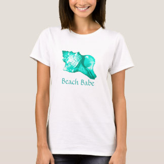 Conch shell sketch - turquoise, white and aqua T-Shirt