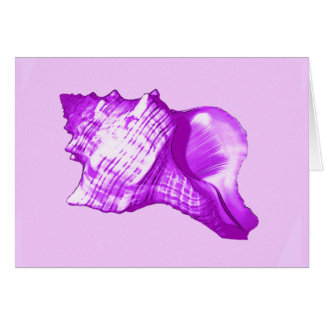 Conch shell sketch - violet, white and lavender card