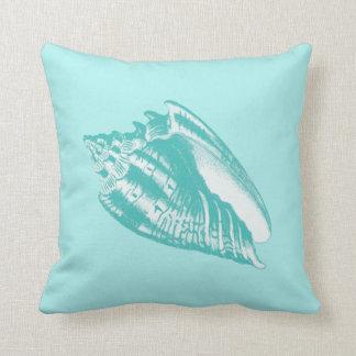 Conch Shell - soft aqua and white Pillow