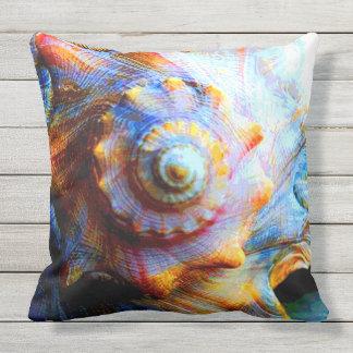 Conch Shell Spiral Outdoor Pillow