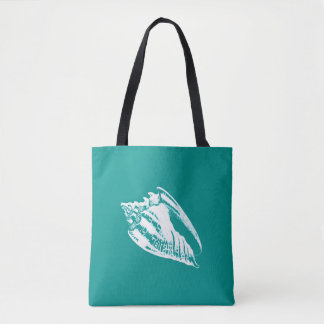 Conch Shell - turquoise and white Tote Bag