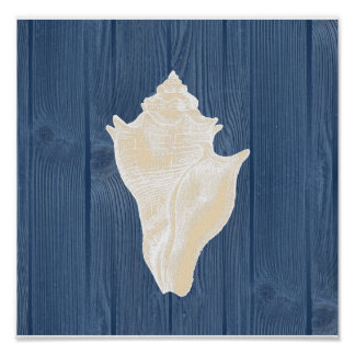 Conch Shell Vintage Blue Wood Beach Poster