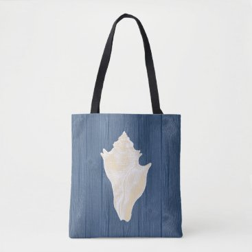 Beach Themed Conch Shell Vintage Blue Wood Beach Tote Bag