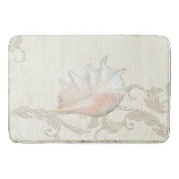 Beach Themed Conch Shell w Coral Blush Scroll Flourish on Wood Bath Mat