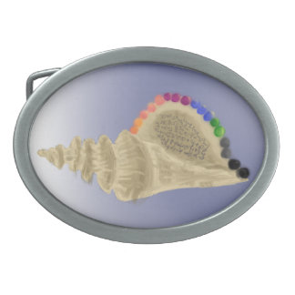 Conch Shell With Rainbow Pearls Belt Buckle