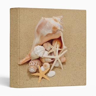 Conch Shell with Shells and Starfish Photo Album 3 Ring Binder