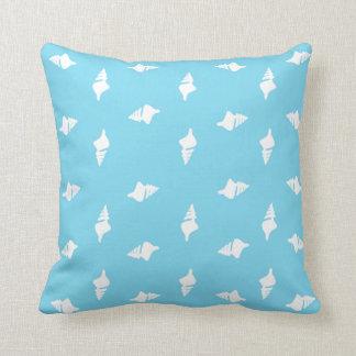 Conch Shells on Aqua Pillow