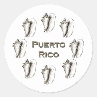 Concha de la reina de Puerto Rico Etiqueta Redonda