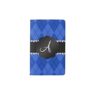 Concha de peregrino azul del negro del argyle del funda para libreta y libreta pequeña moleskine