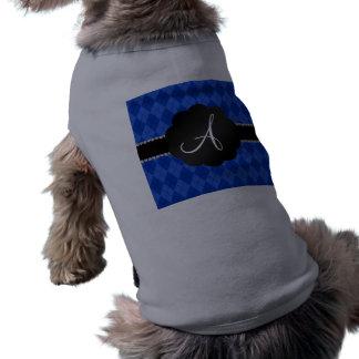 Concha de peregrino azul del negro del argyle del camiseta sin mangas para perro