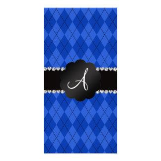 Concha de peregrino azul del negro del argyle del tarjetas fotograficas personalizadas