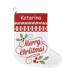 Concha de peregrino de la tipografía de las calcetín navideño grande