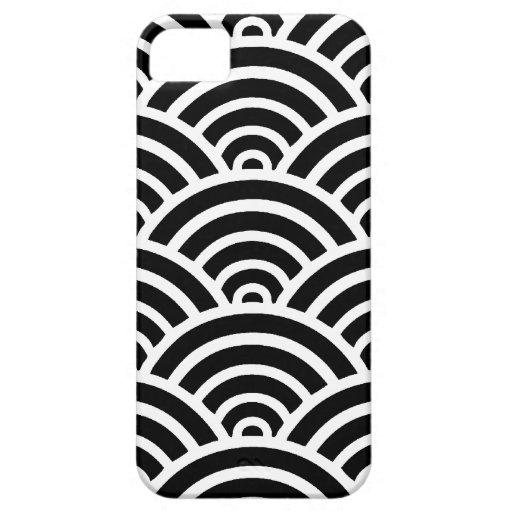 Concha de peregrino negra y blanca iPhone 5 Case-Mate cárcasas