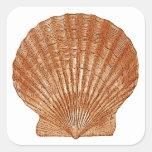 Concha de peregrino Shell de bahía Pegatina Cuadradas