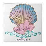 Concha de peregrino Shell - ondas rosadas del azul Teja