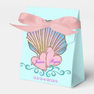 Concha de peregrino Shell - ondas rosadas del azul Cajas Para Detalles De Boda