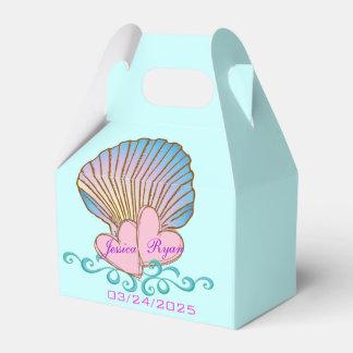 Concha de peregrino Shell - ondas rosadas del azul Cajas Para Regalos De Fiestas