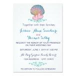 Concha de peregrino Shell - ondas rosadas del azul Invitación Personalizada