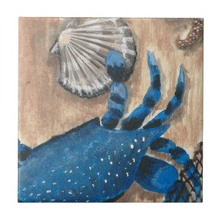 Concha de peregrino y cangrejo azulejo cuadrado pequeño