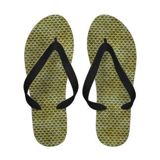 Conchas de peregrino sucias del verde sandalias de playa