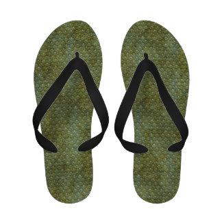 Conchas de peregrino verde oscuro sucias chanclas de playa