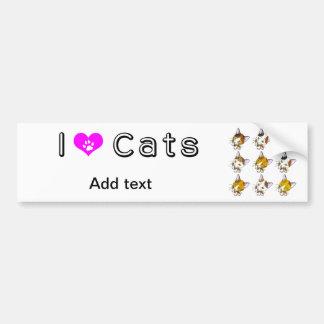 Conchas, gatos de tabby (三毛猫) pegatina para auto
