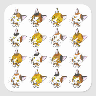 Conchas, gatos de tabby (三毛猫) pegatina cuadrada