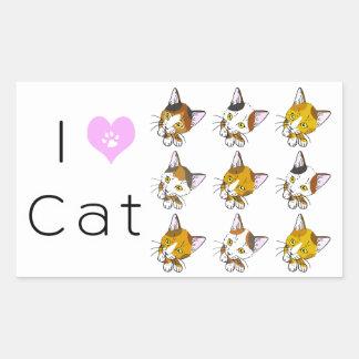 Conchas, gatos de tabby (三毛猫) pegatina rectangular
