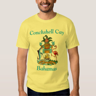 Conchshell Cay, Bahamas with Coat of Arms T Shirts