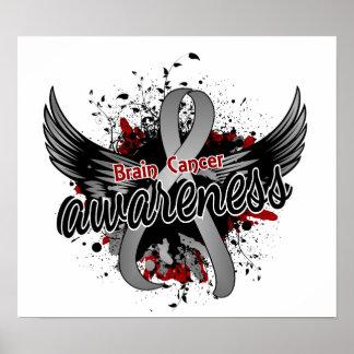 Conciencia 16 del cáncer de cerebro póster