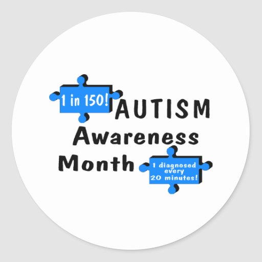Conciencia 1 del autismo en 150 1 cada 20 minutos pegatina redonda