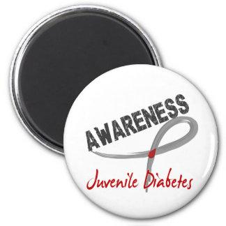 Conciencia 3 de la diabetes juvenil imán redondo 5 cm