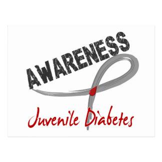 Conciencia 3 de la diabetes juvenil tarjeta postal