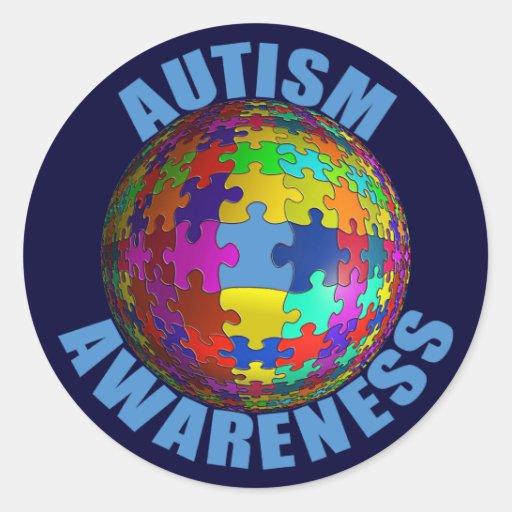 """Conciencia 3"""" del autismo del mundo pegatinas pegatinas redondas"""