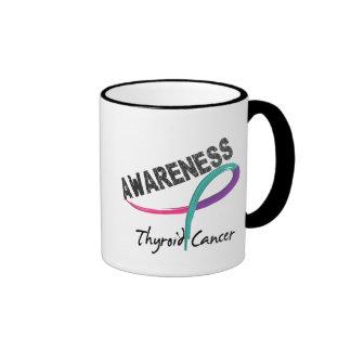 Conciencia 3 del cáncer de tiroides taza de café