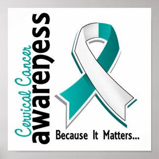 Conciencia 5 del cáncer de cuello del útero póster