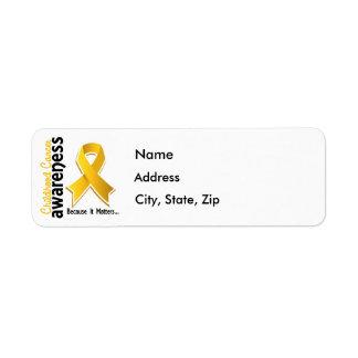Conciencia 5 del cáncer de la niñez etiqueta de remite