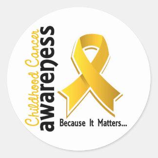 Conciencia 5 del cáncer de la niñez pegatina redonda