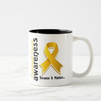 Conciencia 5 del cáncer de la niñez taza de dos tonos