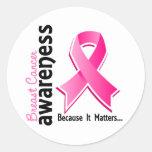 Conciencia 5 del cáncer de pecho pegatinas redondas
