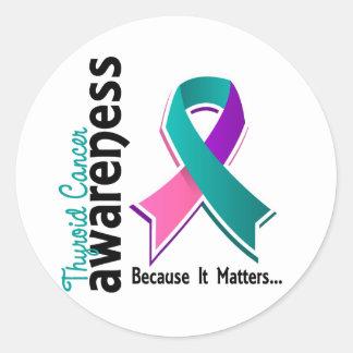 Conciencia 5 del cáncer de tiroides etiqueta redonda