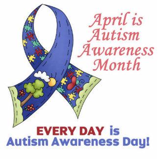 Conciencia abril del autismo y cada día fotoescultura vertical
