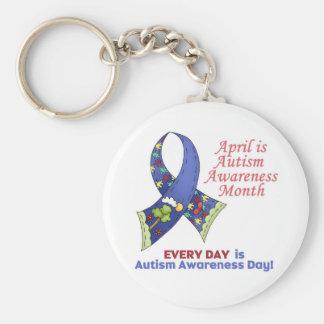 Conciencia abril del autismo y cada día llavero redondo tipo pin
