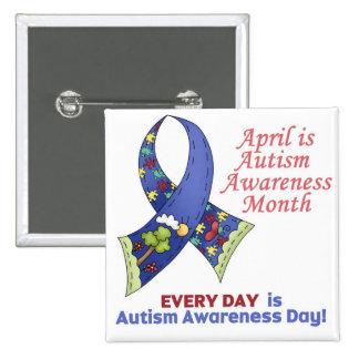 Conciencia abril del autismo y cada día pin cuadrada 5 cm