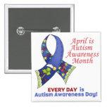 Conciencia abril del autismo y cada día pins