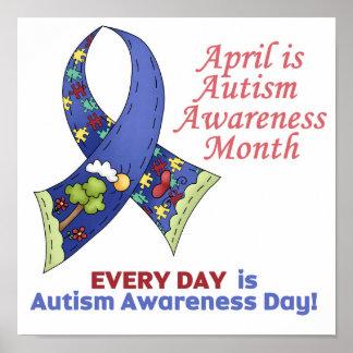 Conciencia abril del autismo y cada día póster