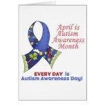 Conciencia abril del autismo y cada día tarjeta