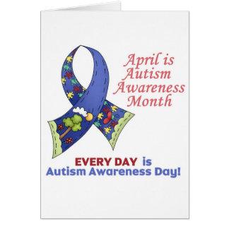 Conciencia abril del autismo y cada día tarjeta de felicitación